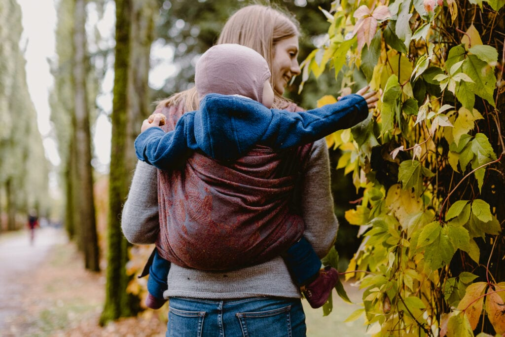 A toddler trying to grap a leaf from his mother's back. He is carried in the carrier Frida by Levate wraps.