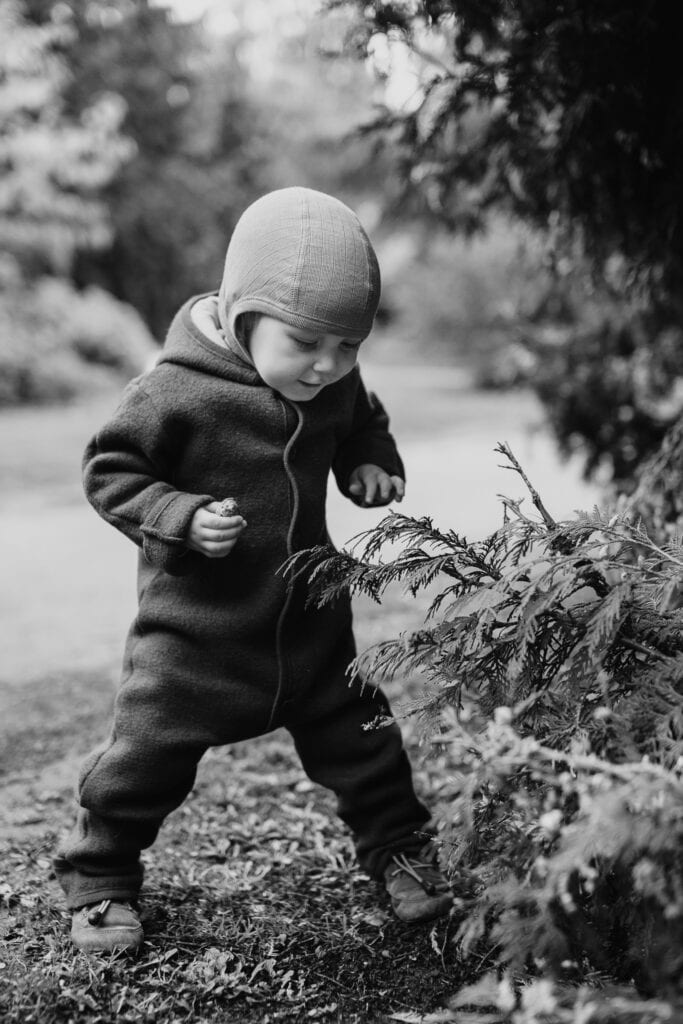 A toddler playing in a park
